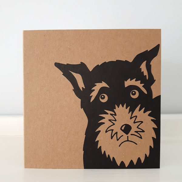 kraft card, with a close up of the face of a schnauzer