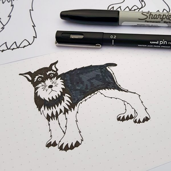 Original sketch of Geoffrey the Schnauzer