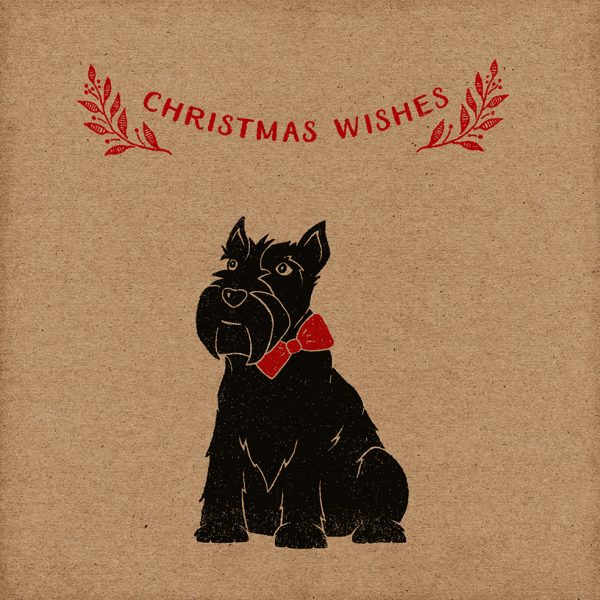 Scottie Dog Christmas card, kraft card with Scottie Dog design, and Christmas wishes message