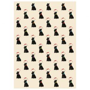 Full sheet of Scottie Dog Christmas wrapping paper