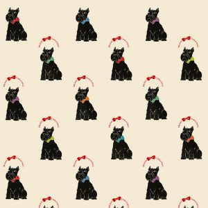 Mid range view of my Scottie Dog Christmas wrapping paper. Cream paper, with scottie dogs, and 'merry Christmas' wreaths