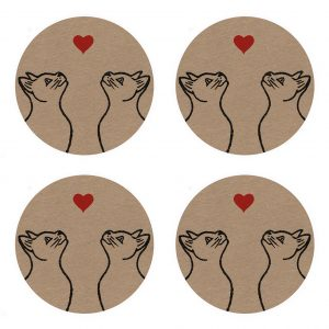 4 kraft stickers, with love cats design