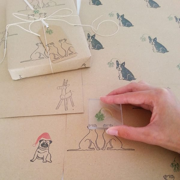 printing Christmas Cats wrapping paper