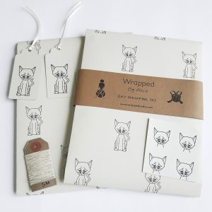 cat gift wrapping set, grey wrapping paper, gift tags and stickers with cat print., plus natural hemp cord.