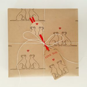 valentine's gift wrapping - present gift wrapped with love cats wrapping paper and gift tag