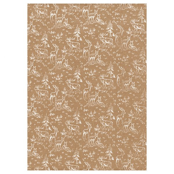 recycled christmas wrapping paper - full sheet of deer print kraft wrapping paper