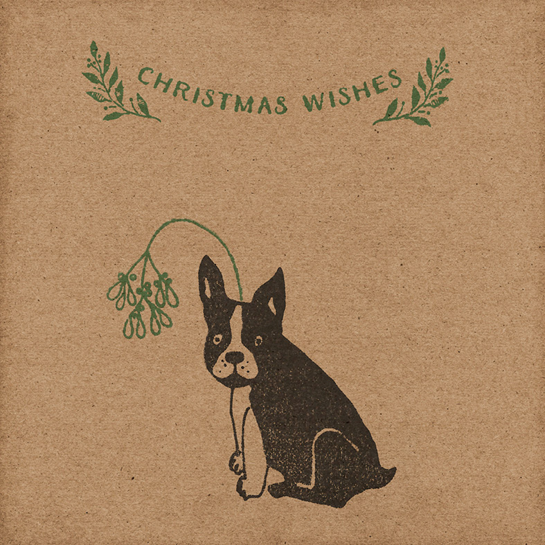 Handmade Frenchie Christmas Card - Wrapped By Alice