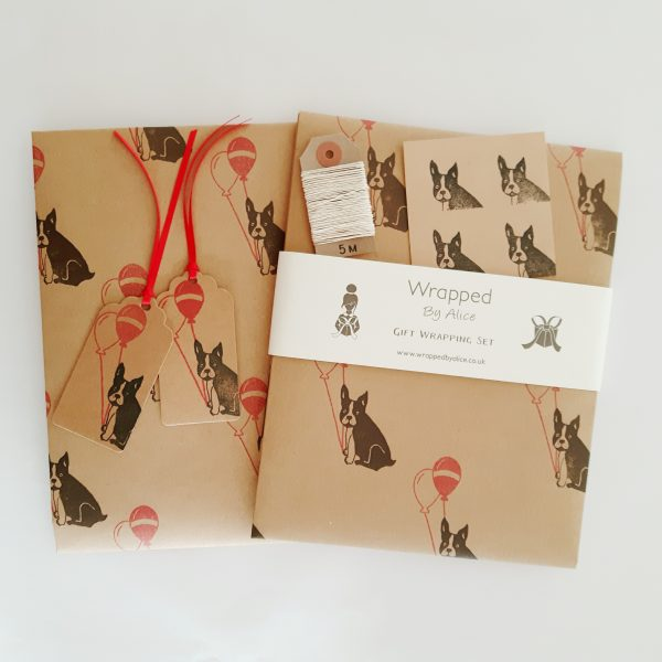 funny french bulldog birthday gift wrap set