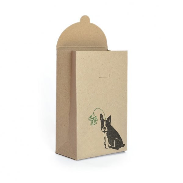 Christmas frenchie gift box - mini kraft gift box, with black frenchie wearing mistletoe headband
