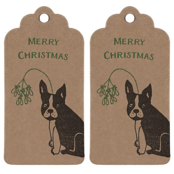 two Christmas gift tags with French Bulldog print