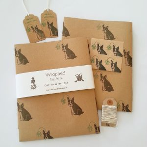 Christmas French Bulldog gift wrapping set. Full set, with Wrapped By Alice paper band around