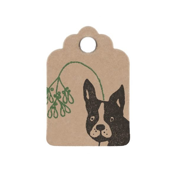 christmas frenchie mini gift tag