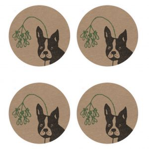4 kraft stickers with Christmas french bulldog design - a frenchie's head, with misteltoe headband