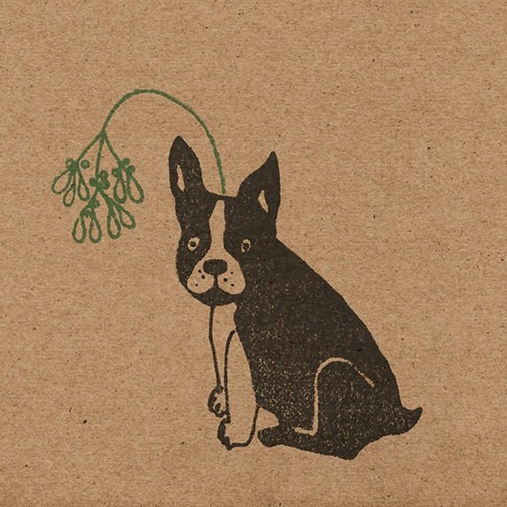 Close up of french bulldog with mistletoe headband, printed on brown kraft