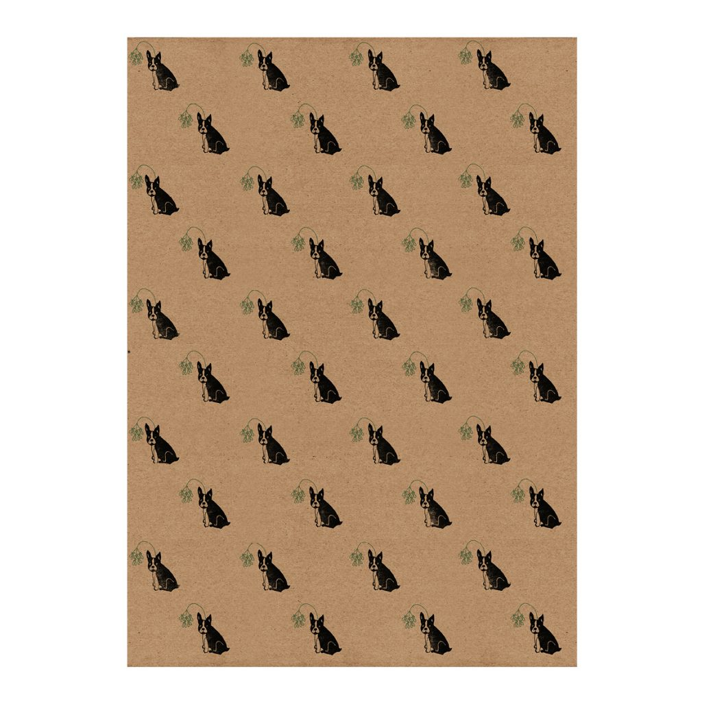 Full sheet of Christmas Frenchie wrapping paper - Frenchbulldogs and mistletoe on recycled brown kraft paper (50cm x 70cm)