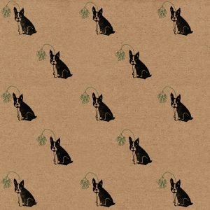 Frenchie Christmas wrapping paper - kraft gift wrap sheet with cheeky Frenchie print - frenchies wearing mistletoe headbands