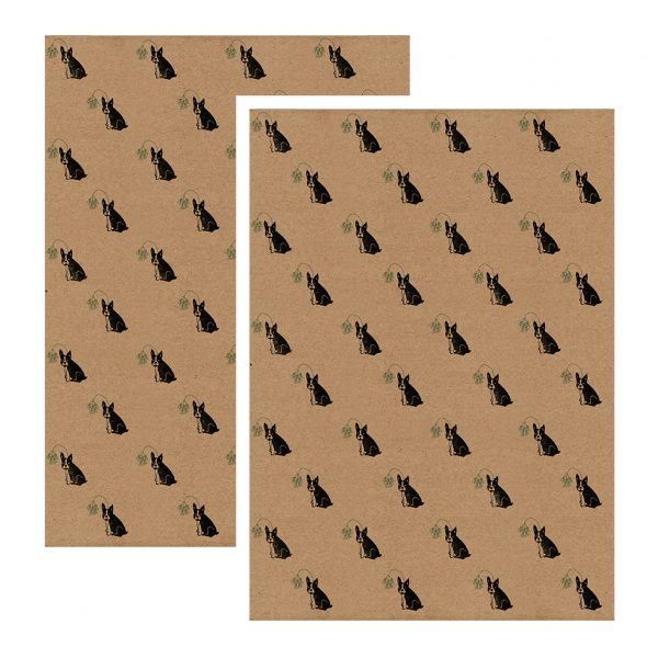 2 sheets of christmas french bulldog gift wrap - brown kraft, with repeating pattern of black frenchies wearing mistletoe headbands.