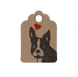 mini brown kraft gift tag with frenchie face and a red love heart above