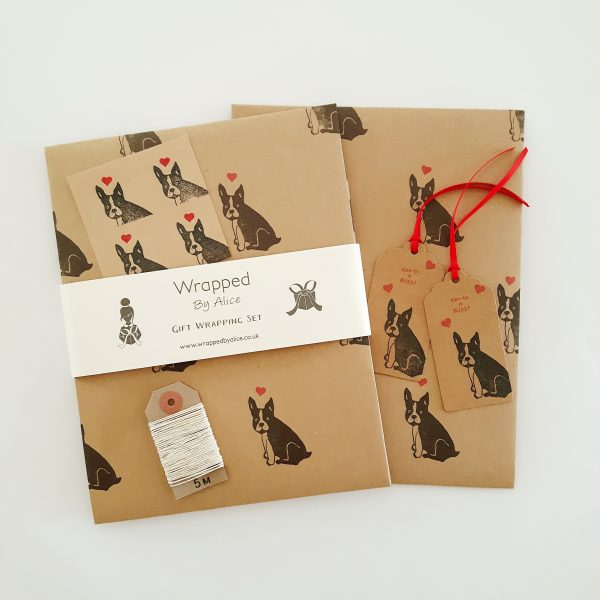 love-themed Frenchie gift wrap set by Wrapped By Alice. 2 sheets of folded gift wrap, 2 gift tags, 4 stickers and 5 metres of twine.