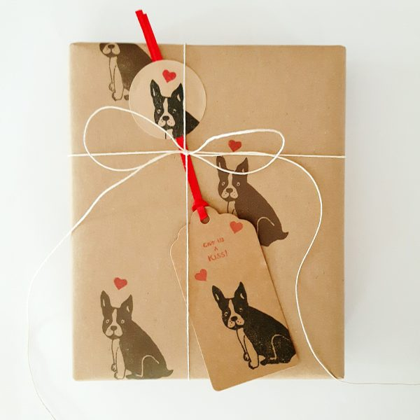 present wrapped in french bulldog gift wrap