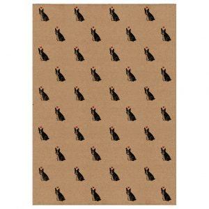 french bulldog gift wrap - brown kraft wrapping paper with french bulldogs and hearts