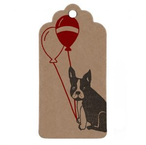 Birthday gift tag, with French Bulldog holding red balloons