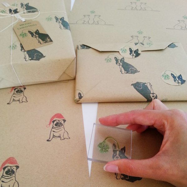 Printing Frenchie Christmas wrapping paper.