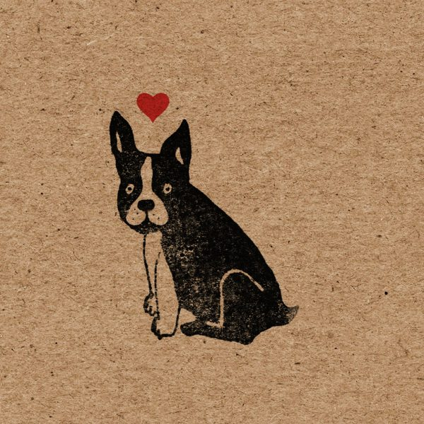close up of french bulldog wrapping paper, showing one frenchie with a red love heart floating above his head
