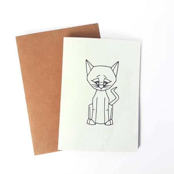 cat card with brown kraft envelope