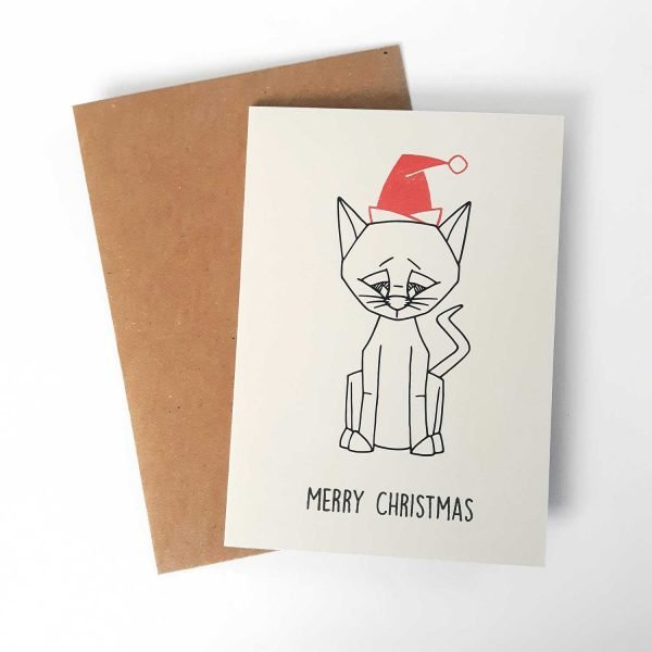 cat christmas card with brown kraft envelope