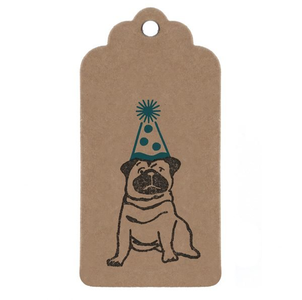 birthday pug gift tag. Brown kraft tag with pug wearing blue party hat