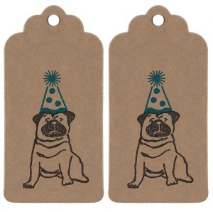 2 party pug gift tags - brown kraft tags, with scalloped edge detailing, featuring a black pug wearing a blue party hat.