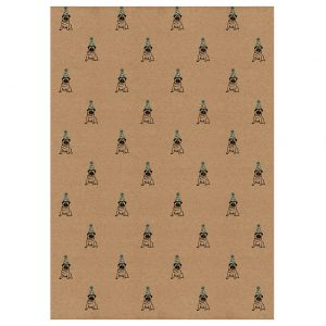 full sheet of birthday pug wrapping paper. Brown kraft, with black pugs, wearing blue party hats
