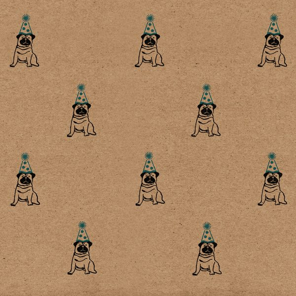 birthday pug wrapping paper