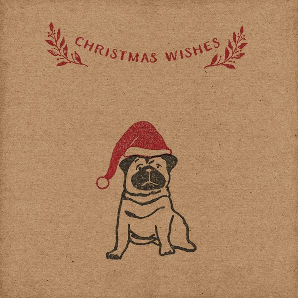 Pug Christmas Card. kraft card with pug, wearing a red santa hat, below the message 'Christmas Wishes'