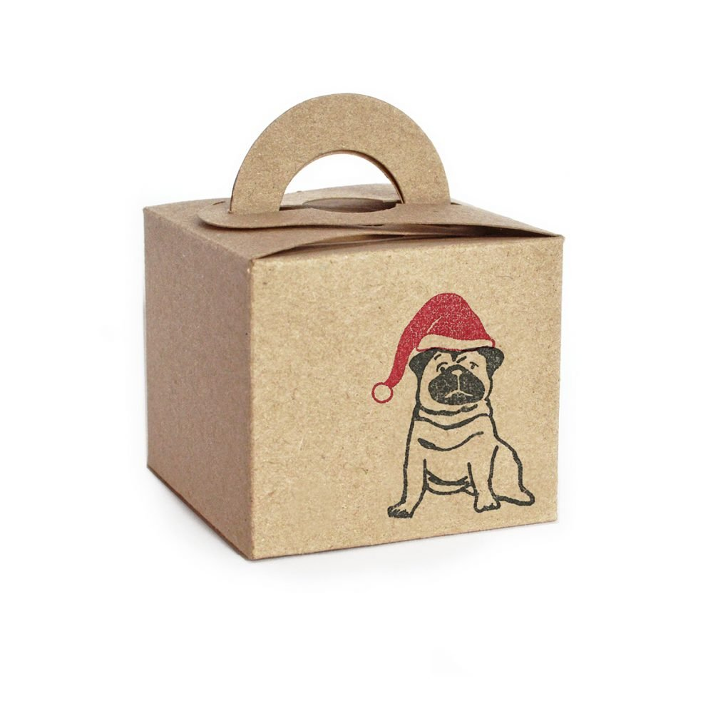 Mini kraft christmas gift box, with Pug design