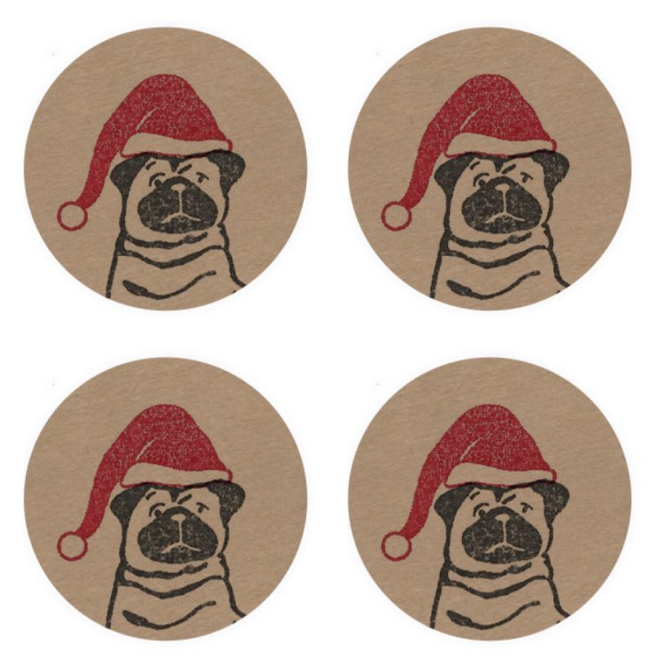 four kraft stickers featuring my Christmas Pug.