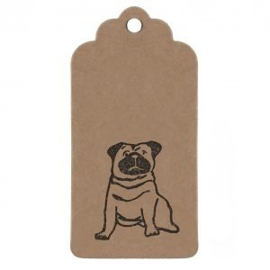 Pug gift tag. Cute kraft tag with Pug print.