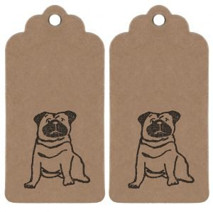 Pug gift tags, two kraft tags featuring a pug illustration.