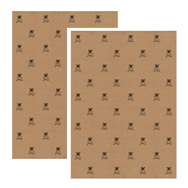 2 sheets of pug gift wrap, brown kraft paper with pattern of black pugs