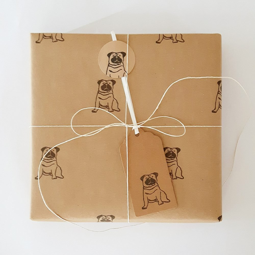 Gift wrapped with Pug wrapping paper and gift tag.