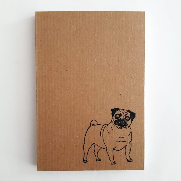 pug notebook. Small ribbed kraft notebook with pug design