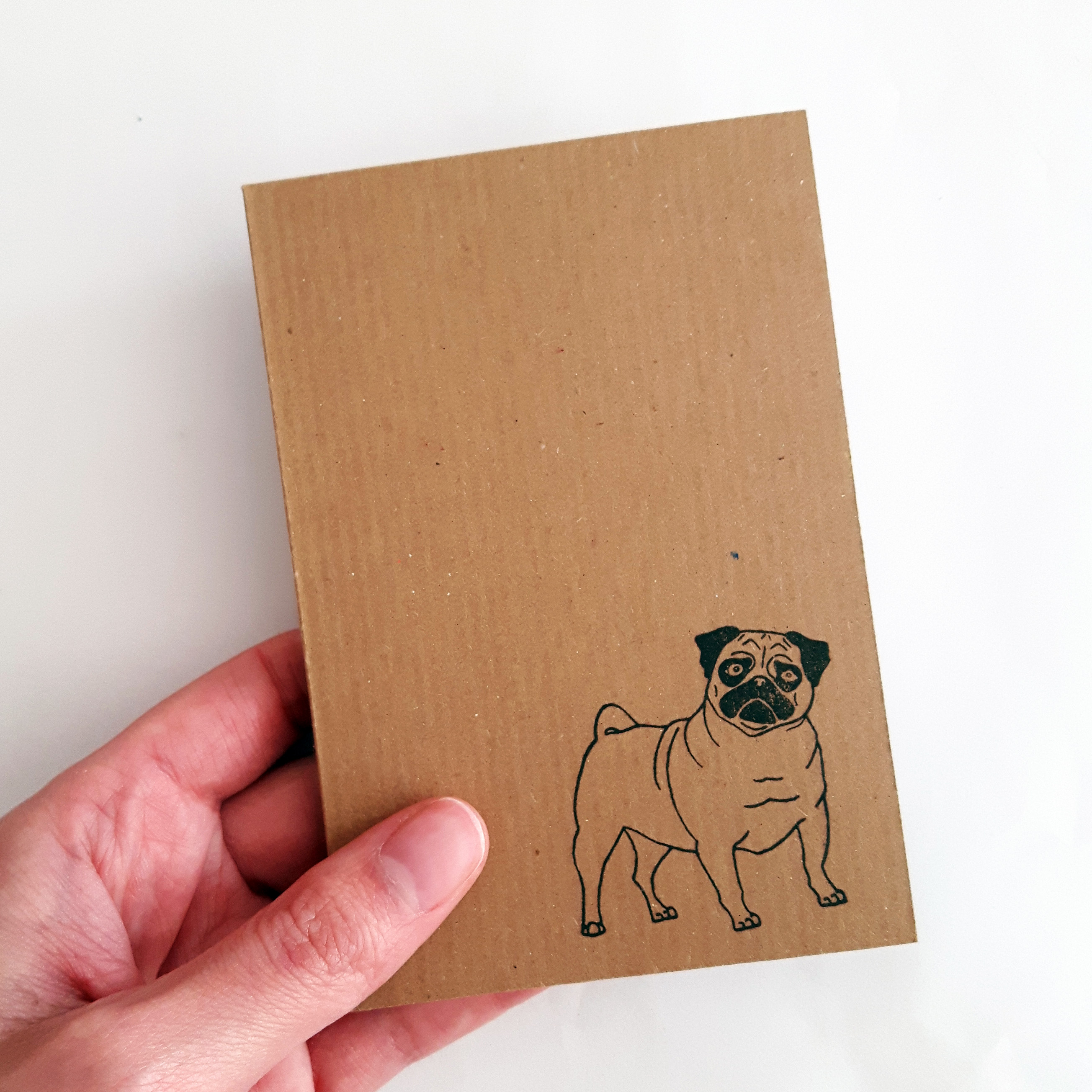 pug notebook, held in a hand, to show the passport size