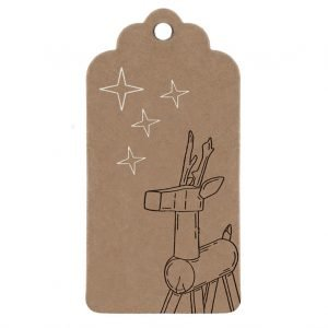 reindeer gift tag. Brown kraft tag, with wooden reindeer design and silver stars