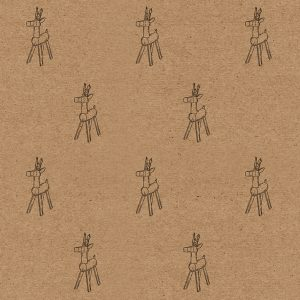 reindeer Christmas wrapping paper sheet - brown kraft paper with simple wooden reindeer design in black
