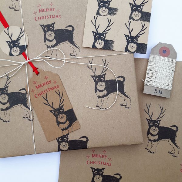 Gift wrapped present, featuring reindeer dog Christmas wrapping paper and gift tags.