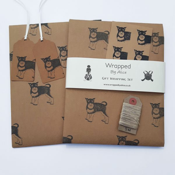 Schnauzer gift wrap set by Wrapped By Alice - 2 sheets of paper, 2 tags, 4 sticker, hemp cord
