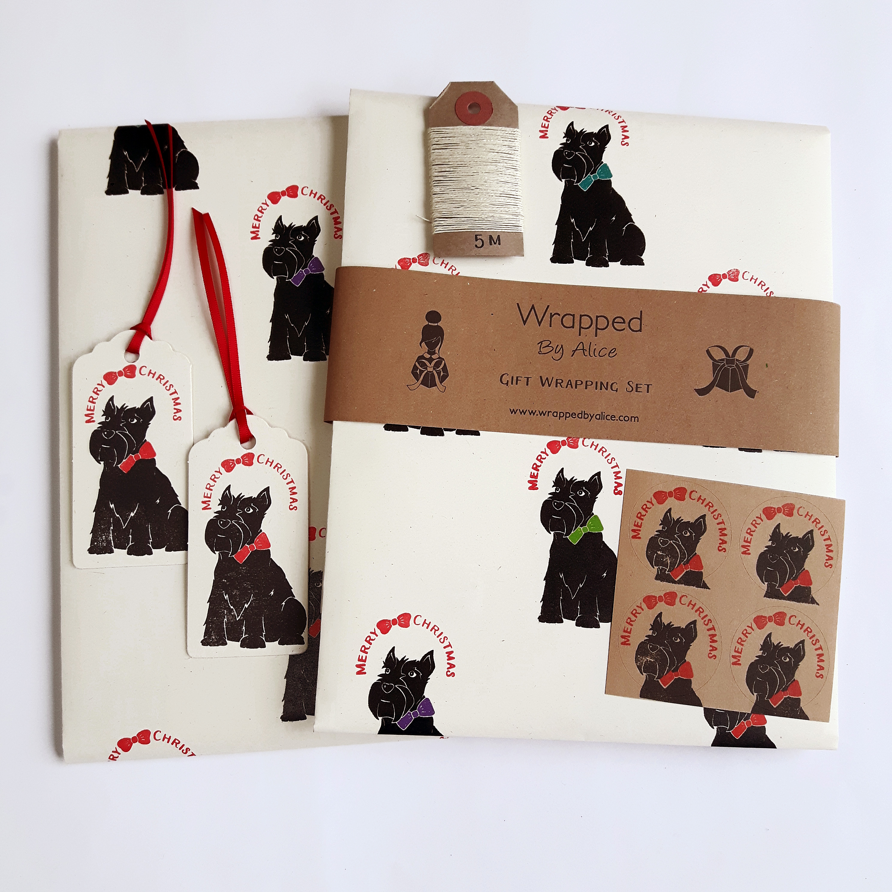 Christmas Scottie Dog Gift Wrapping Set - Wrapped By Alice
