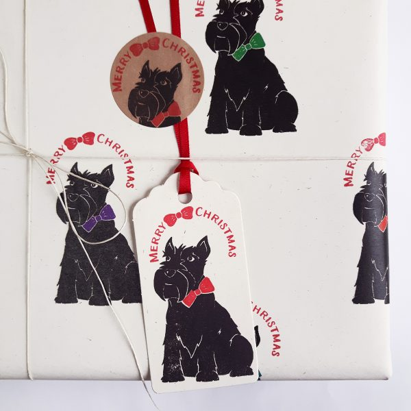 scottie dog christmas gift tag, on gift wrapped Christmas present