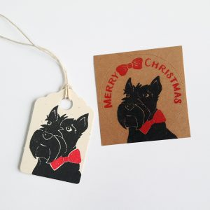 scottie dog mini christmas gift tag and sticker